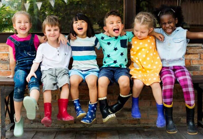 Happy Kids on a Bench